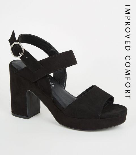 aee291eee59e ... Black Suedette Platform Block Heels ...