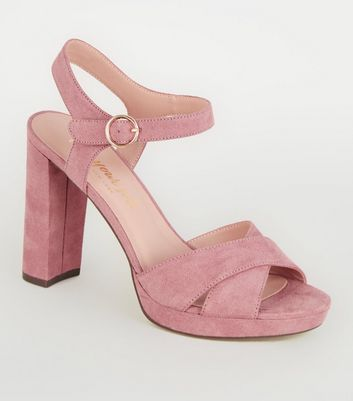 Pink Suedette Cross Strap High Vamp Heels