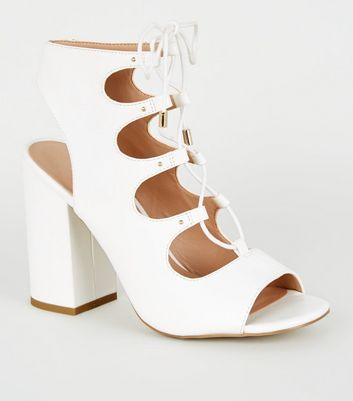 White Leather-Look Lace Up Ghillie Block Heels