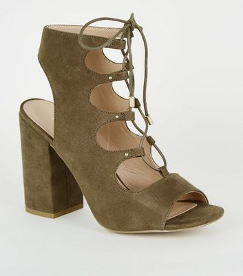 Khaki Suedette Lace Up Ghillie Block Heels