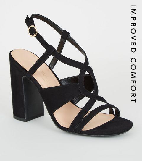 bb2898780 ... Black Suedette Swirl Strappy Block Heels ...