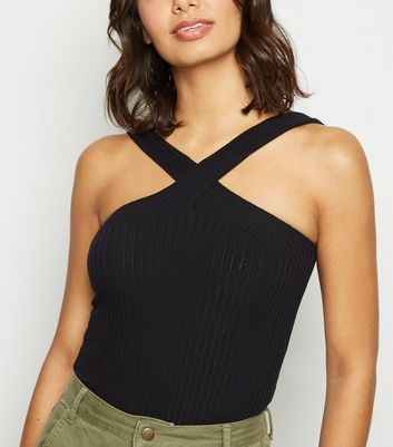 Black Ribbed Cross Front Bodysuit