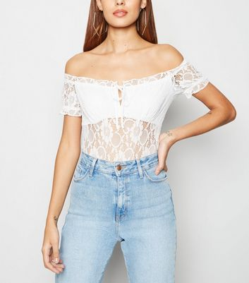 White Lace Trim Milkmaid Bodysuit