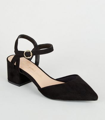 Wide Fit Black Suedette Low Heel Courts