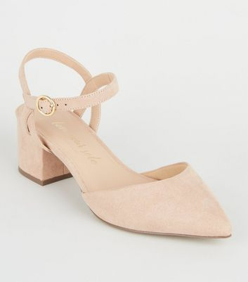 Wide Fit Nude Suedette Low Heel Courts