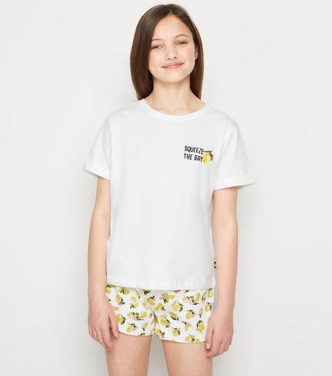 497a6b23d719 ... Girls Yellow and White Lemon Short Pyjama Set ...