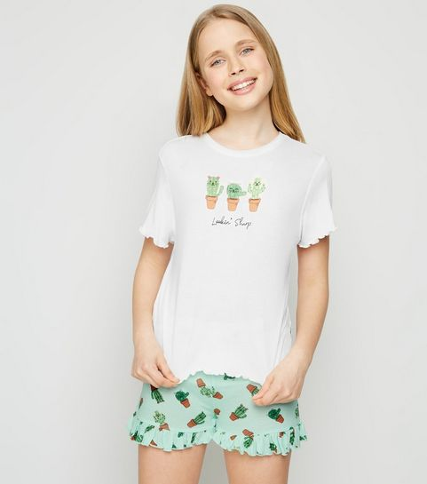 9bcaf14a82c ... Girls White Cactus Slogan Pyjama Set ...