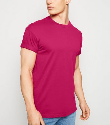 Bright Pink Short Roll Sleeve T-Shirt