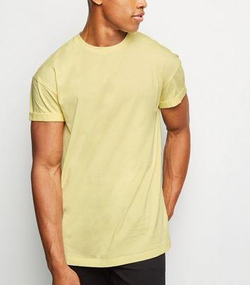 Pale Yellow Short Roll Sleeve T-Shirt