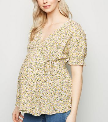 Maternity White Ditsy Floral Wrap Top