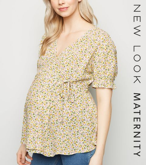 774b5f55305 ... Maternity White Ditsy Floral Wrap Top ...