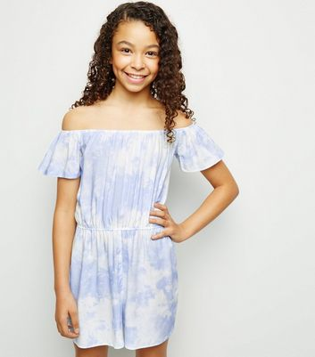 Girls Blue Tie Dye Bardot Playsuit