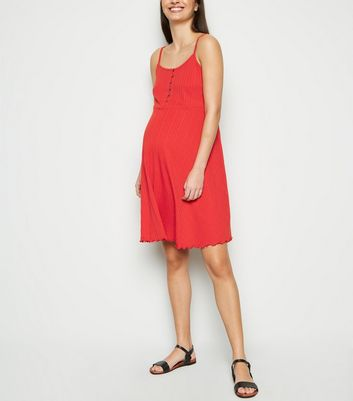 Maternity Red Ribbed Button Up Skater Dress