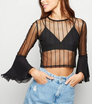 Cameo Rose Black Flare Sleeve Mesh Top