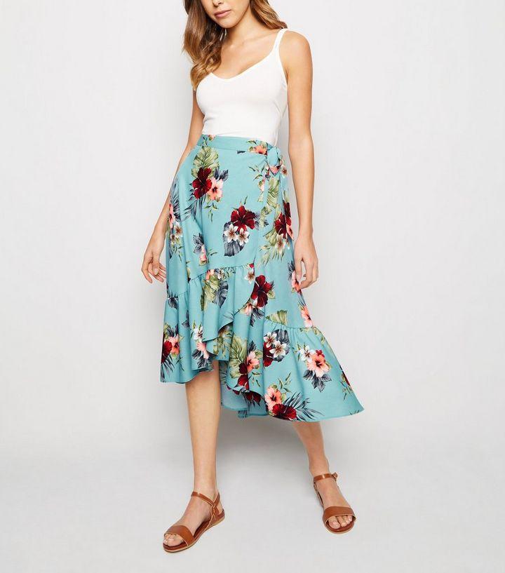 Blue Floral Ruffle Hem Wrap Midaxi Skirt