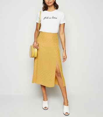 Mustard Spot Jacquard Side Split Midi Skirt