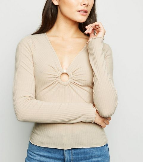 c79d3a4330fdc ... Camel Ribbed Ring Detail Top ...