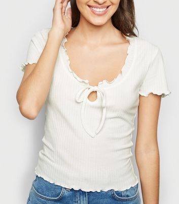 White Ribbed Frill Tie Front Top