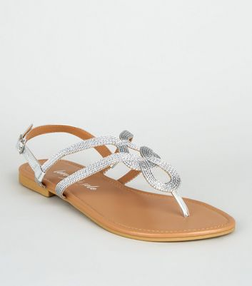 Wide Fit Silver Woven Strap Flat Sandals