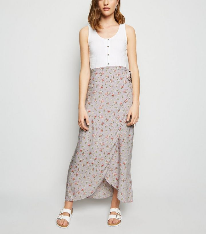 2b9a9f5a69 Purple Ditsy Floral Wrap Midaxi Skirt | New Look
