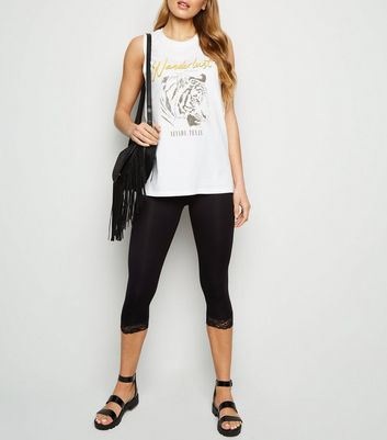 Black Lace Trim 3/4 Leggings