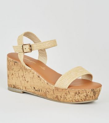 Wide Fit Off White Woven Raffia Flatforms