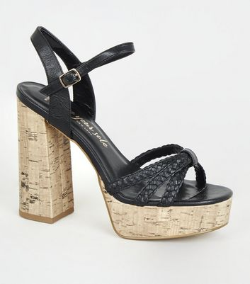 Wide Fit Black Woven Strap Cork Heels