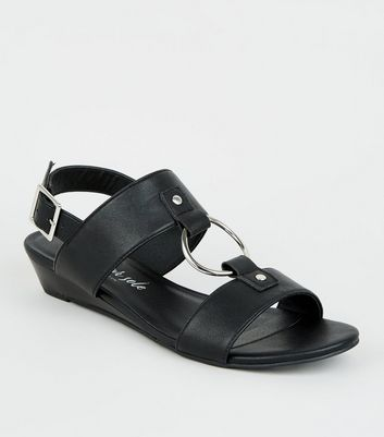 Black Leather-Look Ring Strap Wedge Sandals