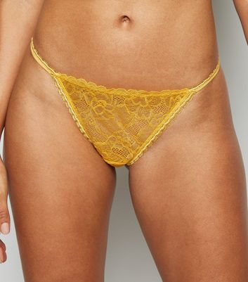 Mustard Lace Strappy Brazilian Briefs