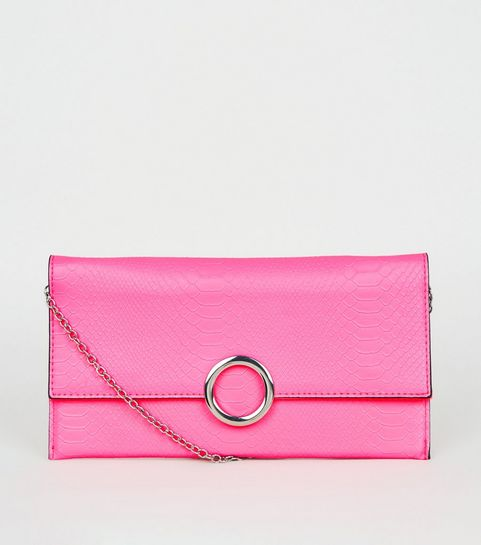 0c96a15a64825 ... Pink Neon Faux Snake Ring Clutch ...