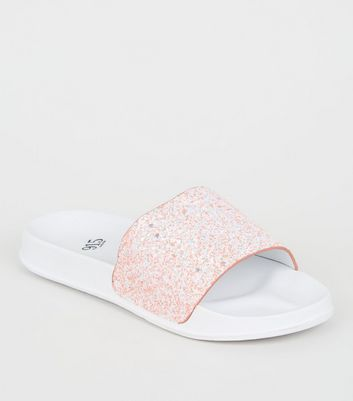 Girls Pink Glitter Strap Sliders