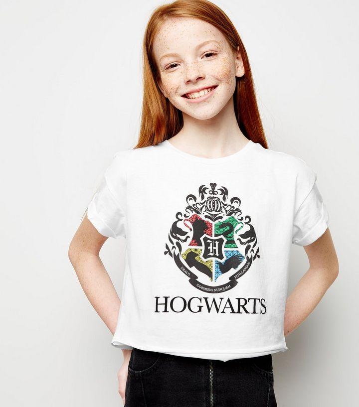 e58e7172 Girls White Harry Potter Hogwarts Crest T-Shirt | New Look