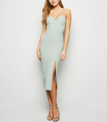 Light Green Bustier Split Hem Bodycon Dress