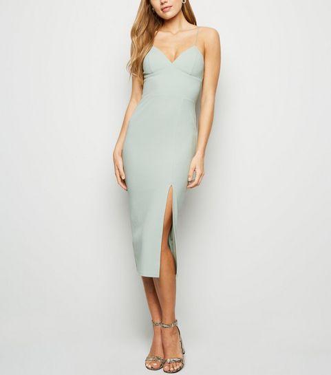 1623ffbc96 ... Light Green Bustier Split Hem Bodycon Dress ...