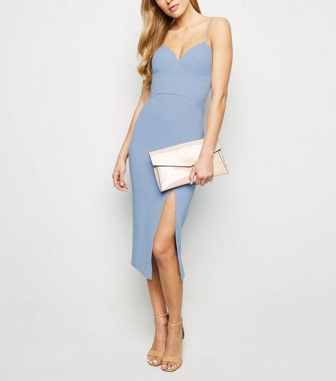... Pale Blue Bustier Split Hem Bodycon Dress ... 261c7c2ff