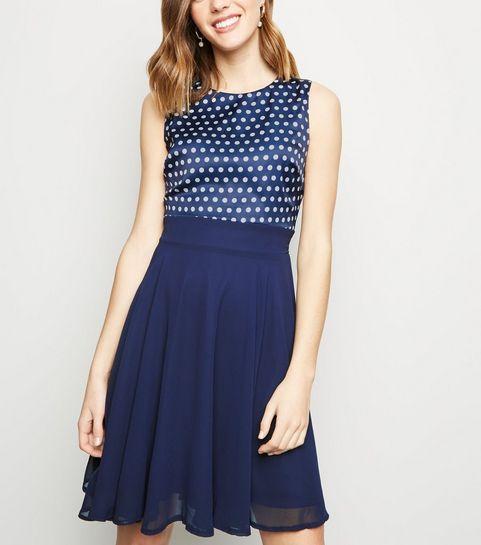 5a84fe4c49f ... Apricot Navy Polka Dot Chiffon Dress ...