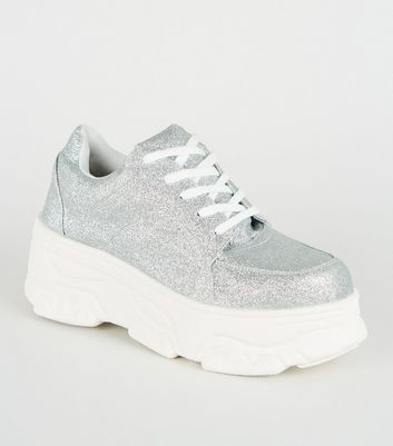 Silver Glitter Lace Up Chunky Flatform Trainers
