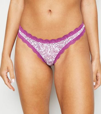 Purple Paisley Lace Trim Thong