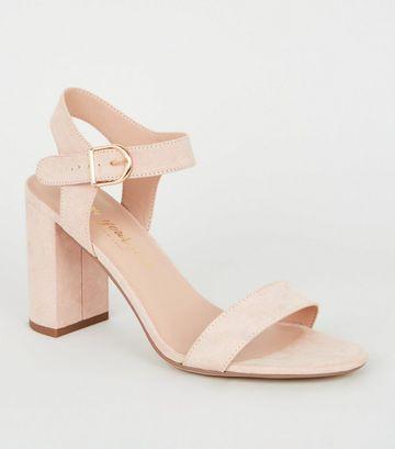 Pale Pink Suedette Ankle Strap Block Sandals