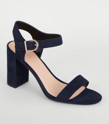 Navy Suedette Ankle Strap Block Sandals