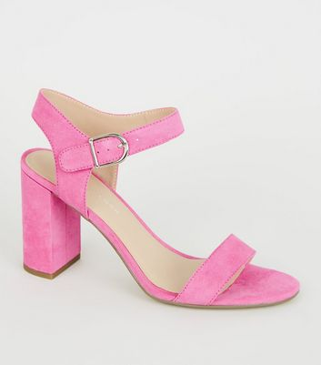 Bright Pink Suedette Ankle Strap Block Sandals