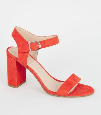 Orange Suedette Ankle Strap Block Sandals