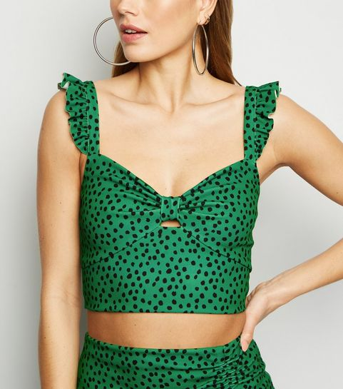 a4e4f05561 ... Green Spot Bow Front Crop Top ...