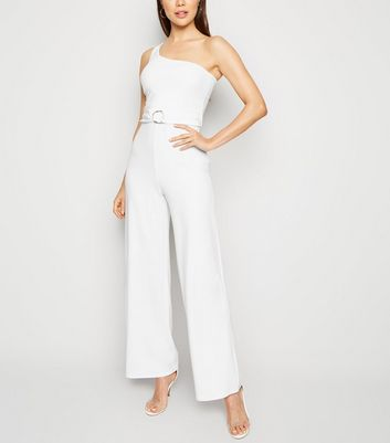 White One Shoulder Belted Jumpsuit