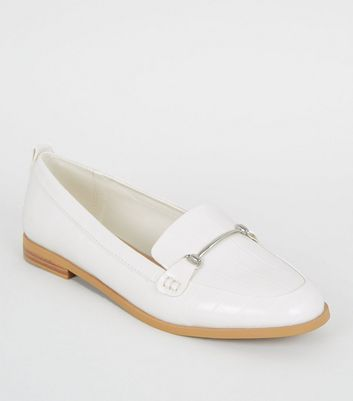 White Faux Croc Bar Front Loafers