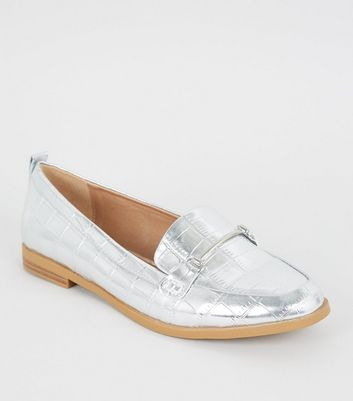Silver Faux Croc Metallic Bar Front Loafers