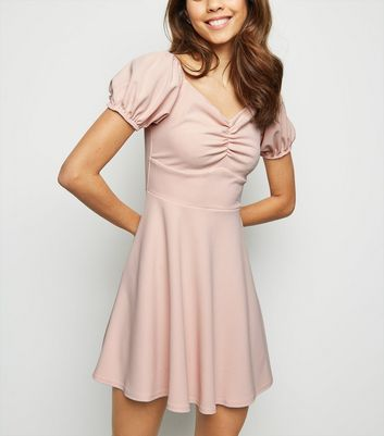 Pale Pink Ruched Milkmaid Dress