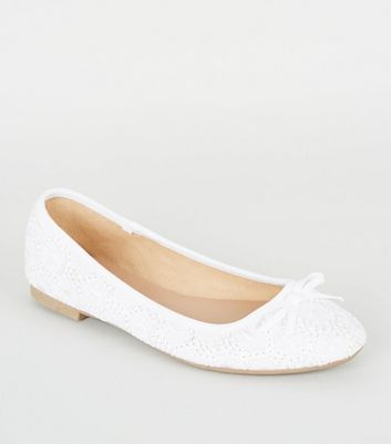 Wide Fit Off White Broderie Ballet Pumps