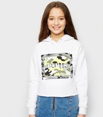 Girls White Paris Neon Camo Slogan Hoodie