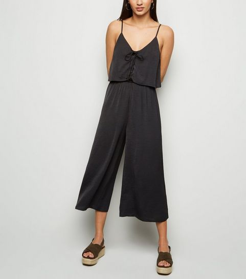 55a45998dd ... Black Lace Up Layered Culotte Jumpsuit ...